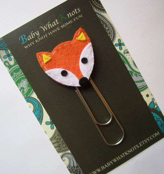Extra LARGE Paperclip Bookmark, Fox Bookmark, Kids Felt Bookmark, Paperclips, Jumbo Paper Clip, Filofax, Planner Clips, Calendar, bmfox56