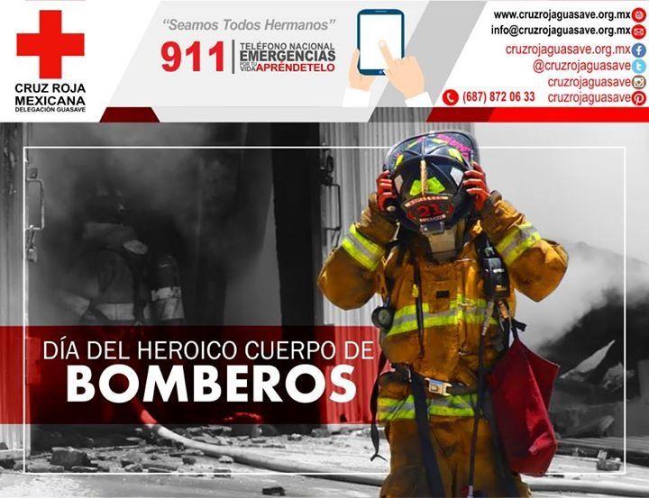 """El 22 de agosto de 1873 se creó el primer cuerpo de bomberos de México y en 1951 se le otorgó el carácter de """"Heroico Cuerpo de Bomberos"""" por decreto presidencial.  Se decidió dedicar este día para recordar a la población la importancia tanto de homenajear a los cuerpos de bomberos como de asistirlos en sus necesidades. #CruzRojaGuasave Bomberos Voluntarios Guasave Bomberos Guasave"""