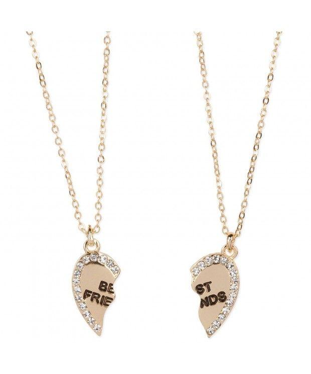Heart Shaped Best Friends Pendants Crystal Gold Tone 2 Piece Necklace Set Cp11rqmuydp Necklace Set Necklace Bff Necklaces