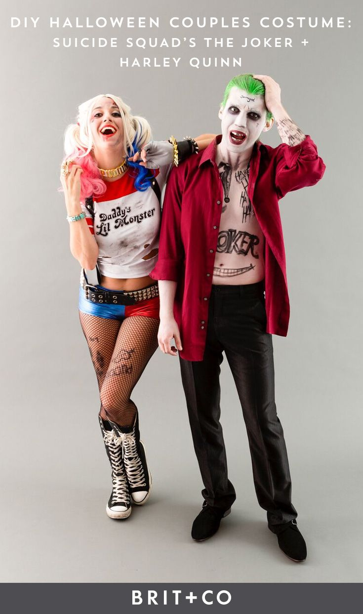 Bookmark this DIY couples Halloween costume idea to learn how to make Harley Quinn + the Joker Suicide Squad cosplay outfits.