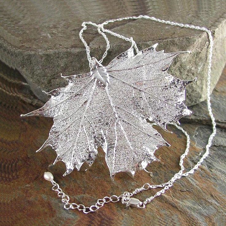 Maple Leaf Necklace Sterling Silver Chain Real Maple Leaf Pendant Necklace Autumn Harvest Fall Fashion. $39.00, via Etsy.