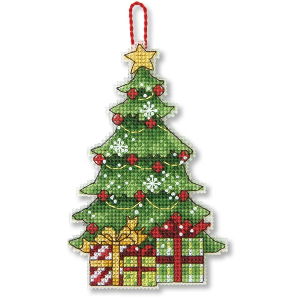 Tree Counted Cross Stitch Ornament  attach to a Christmas card so it can be removed and kept for the tree next year