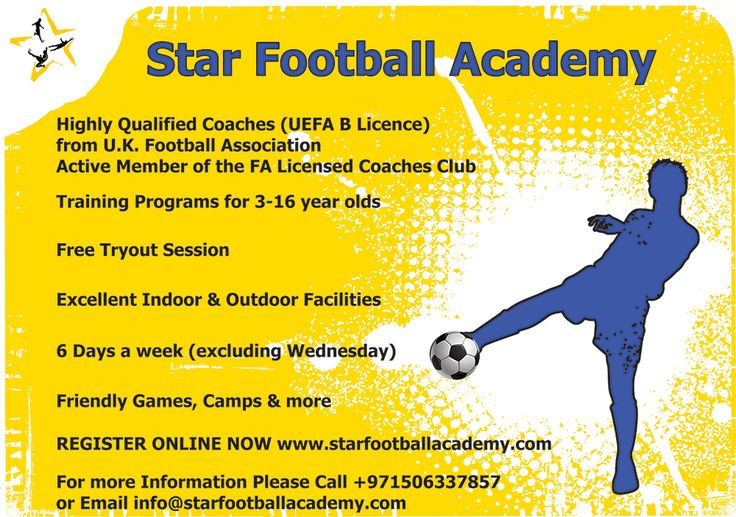 The Star Football Academy is one of the leading football soccer schools in the UAE. This professional football academy has highly qualified coaches with UEFA credentials from the European Football Association. With a dynamic learning environment that produces a very high standard of football coaching in Sharjah.