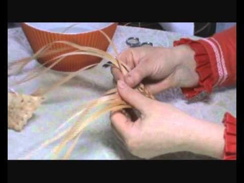 АЖУРНЫЕ ЛИСТИКИ Плетение из мочала #3 - YouTube
