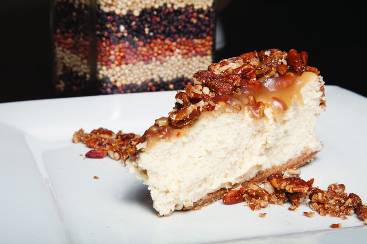 Sorghum Pecan Praline Cheesecake will leave everyone at your table satisfied. Luscious sorghum syrup, iron and protein, complements the cheesecake & topping