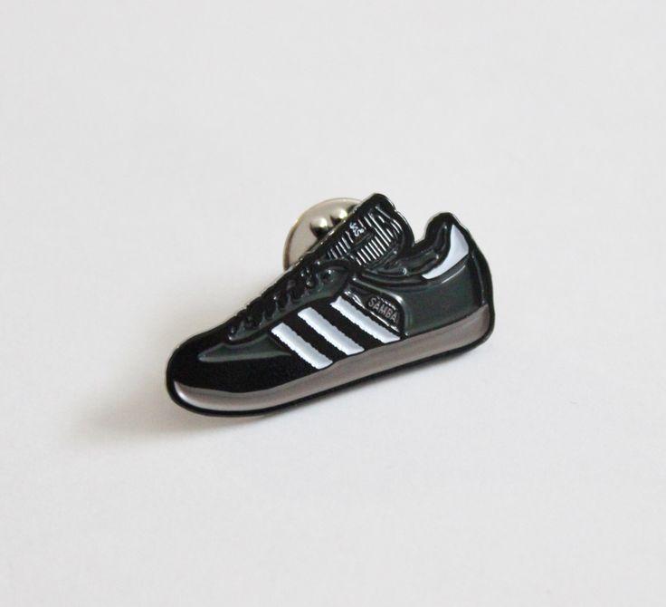 "Adidas Samba Sneaker Lapel Pin - 1.25"" soft enamel by TheSilverSpider on Etsy https://www.etsy.com/listing/285407657/adidas-samba-sneaker-lapel-pin-125-soft"