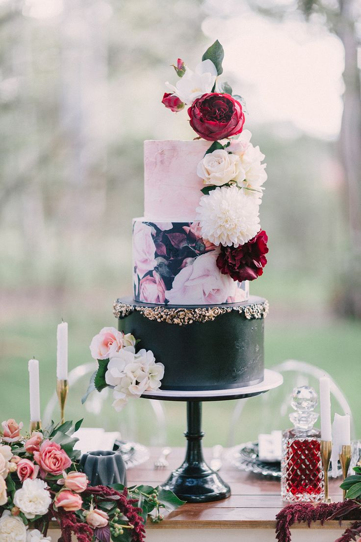 romantic marsala wedding cakes - photo by Nattnee Photography http://ruffledblog.com/dramatic-winter-bridal-inspiration-with-marsala