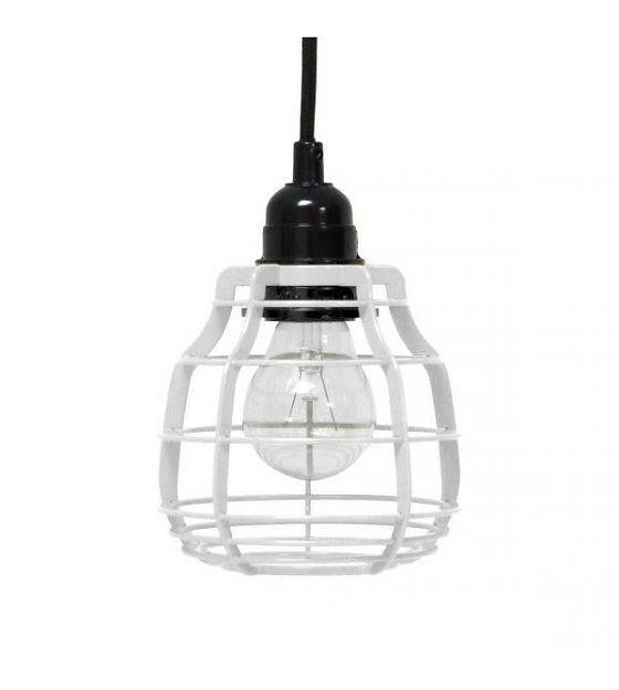 HK-living Hanglamp LAB metaal wit met pendel 13x13x17cm - wonenmetlef.nl