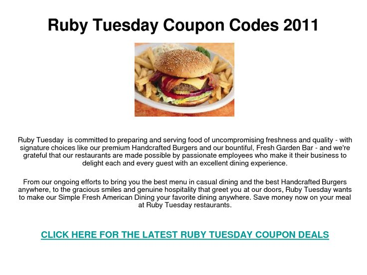 picture relating to Ruby Tuesdays Coupons Printable called Ruby tuesdays coupon / Pioneer female crock pot mac and cheese