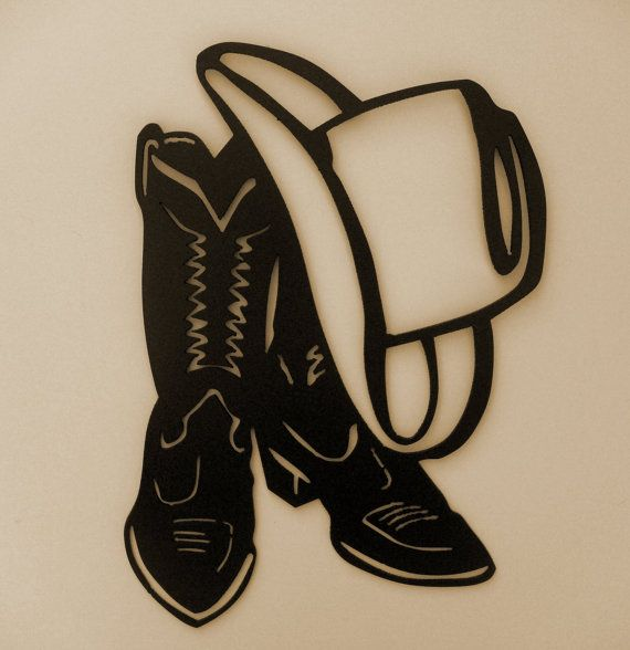 Western Cowboy Boot Hat Wall Accent Metal Art Lodge