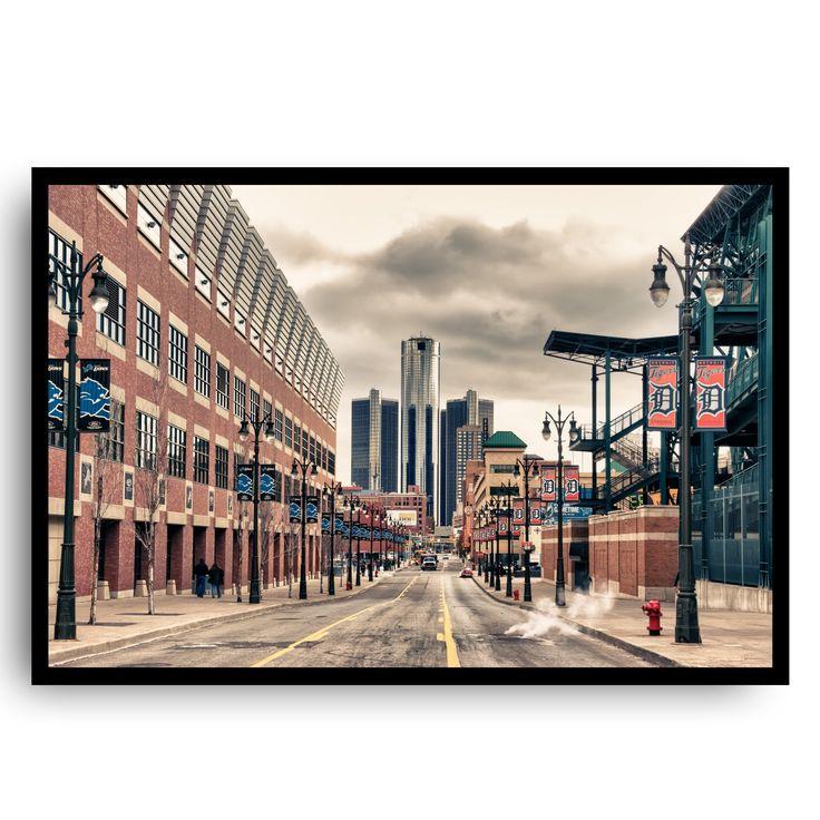 Detroit Sports Framed. Detroit Sports 12x18 framed. Original art. Handmade reclaimed wood frame.