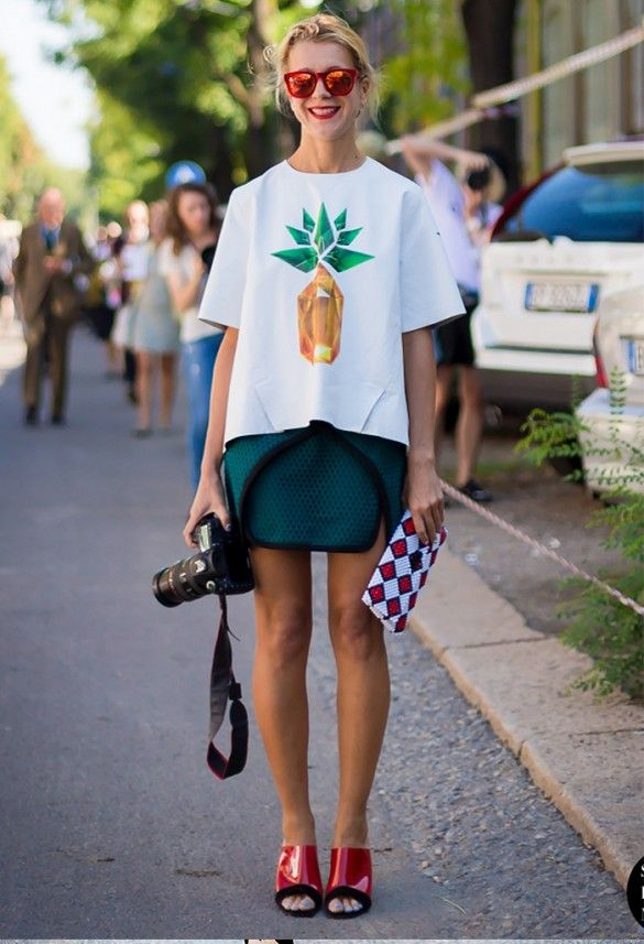 Graphic tee + mini skirt with colorful statement accessories