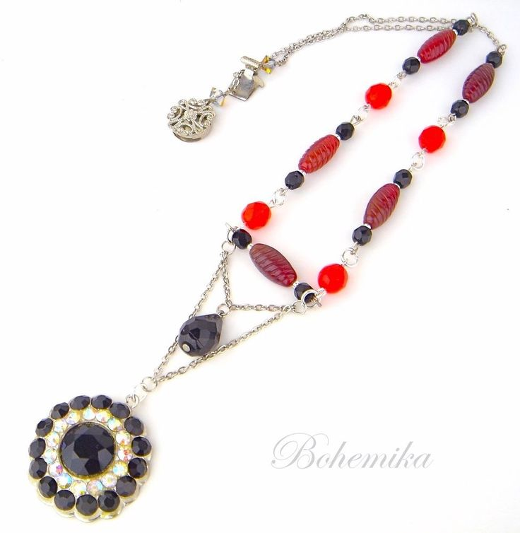 Antique Vintage Art Deco Czech Glass Necklace Pendant RED BLACK Silver Tone #Pendant