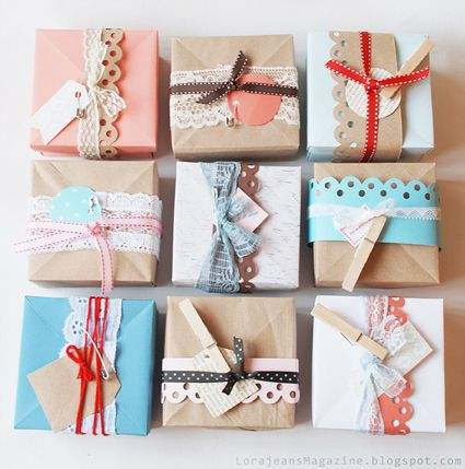 scrap wrap - like this and saw one that I can't find now that had just brown paper wrap with printed scrap paper letter cut-outs.: Craft, Gift Wrapping, Packaging, Gift Ideas, Gifts, Wrapping Ideas, Diy