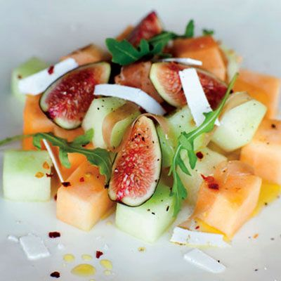 Summer Melon with Fig and Prosciutto    The luscious, fleshy fruit gives this classic combo a refreshing twist. If you can't find Sharlyn melon, use extra honeydew or cantaloupe.    Ingredients: Sharlyn melon, honeydew melon, cantaloupe, prosciutto di Parma, basil, fresh dark-skinned figs, arugula, extra-virgin olive oil, ricotta salata, crushed red pepper    Calories: 212