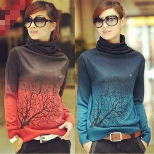 women ombre turtlenecks tree jumper sweaters warm high quality  Color:dark blue, light blue, green, red, gray, orange, dark blue,  (please leave message which color do you need)  Default send dark blue if not get any messages,thanks!  Plate type: Slim-type Sleeve: Long Sleeve Collar: Tur...