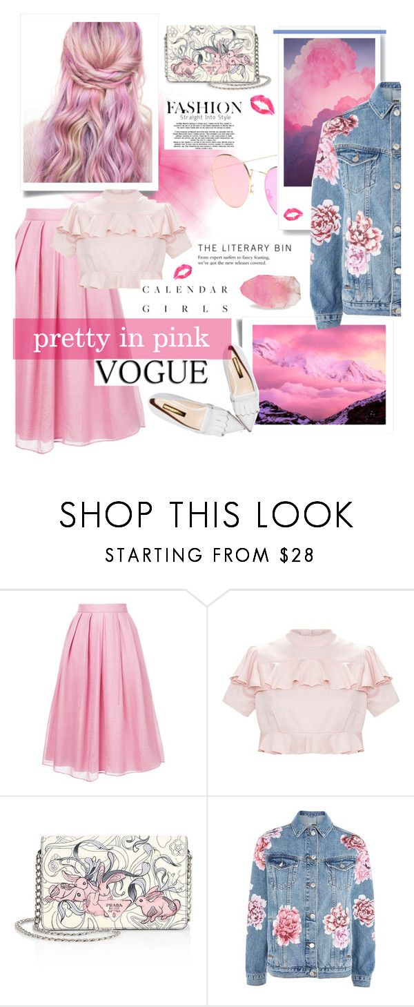 """""""Cotton Candy Hair"""" by blueabbey ❤ liked on Polyvore featuring Jupe By Jackie, Prada, Topshop, SoapRocks and Kerr®"""