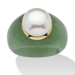 Shop for Round Cultured Freshwater Pearl Green Jade 10k Yellow Gold Ring Naturalist and more for everyday discount prices at Overstock.com - Your Online Jewelry Store!