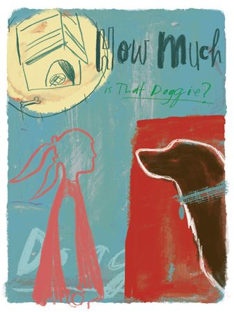 """Jo Tronc's illustration of a Little girl in red and dog themed after the catchy song """"how much is that doggy in the window"""""""