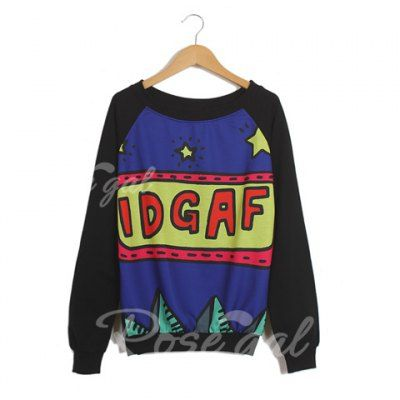 IDGAF Sweater Long Sleeves Scoop Neck Cartoon Letters And Stars Pattern Preppy Style Loose-Fitting Casual Women's Sweater