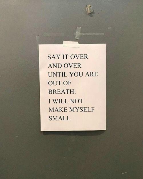 i will not make myself small