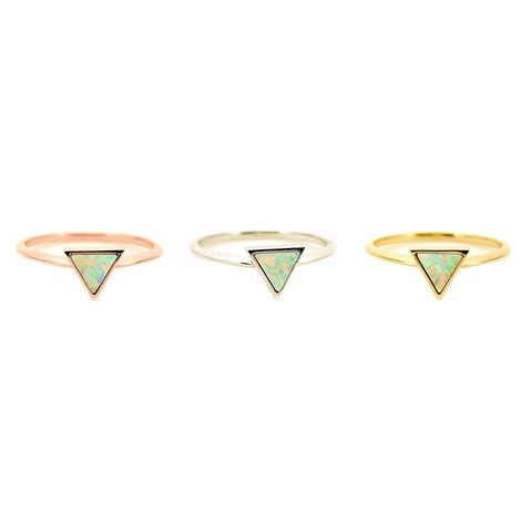 Opal triangle ring - EVE Silver Jewelry