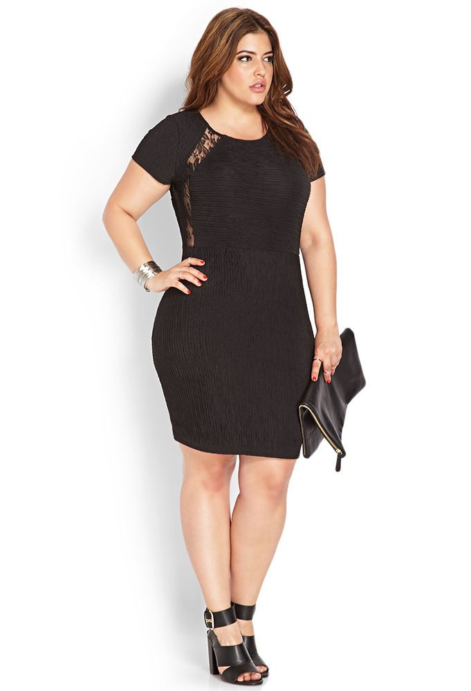 NEW FOREVER 21 PLUS SIZE 3X TEXTERED LACE BODYCON BLACK DRESS | Plus ...
