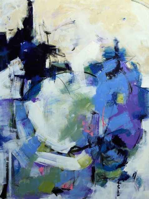 """Elizabeth Chapman: Modern Expressionistic Abstract Blue Painting """"Ingress"""" by Elizabeth Chapman"""