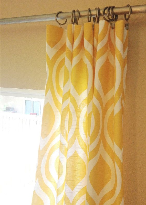 Curtain panels in corn yellow large emily print. Fabric is medium weight 100% cotton slub. (linen-like appearance.) Indicate the size using the