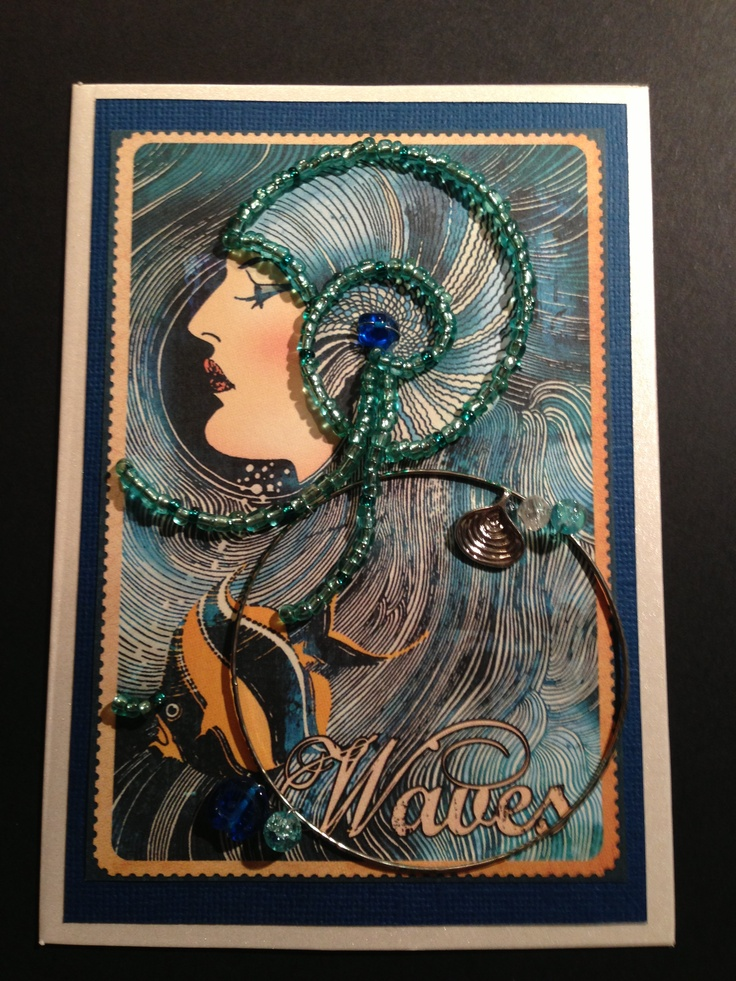 Wave Girl, beaded card