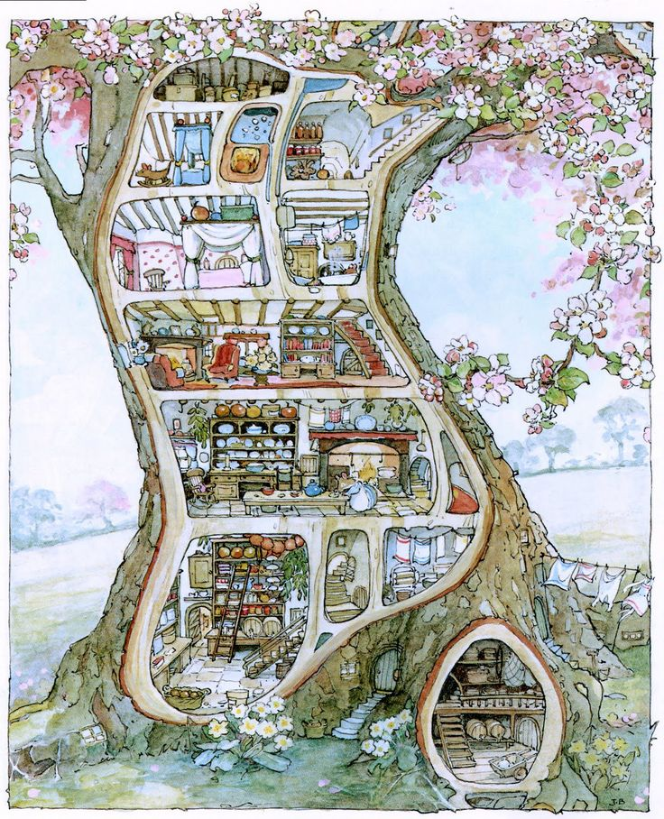 Jill Barklem illustration of the inside a tree, which is actually a mouse mansion!