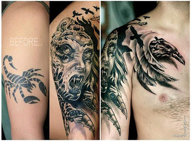 33 best images about cover up tattoos on pinterest for Cool cover up tattoos