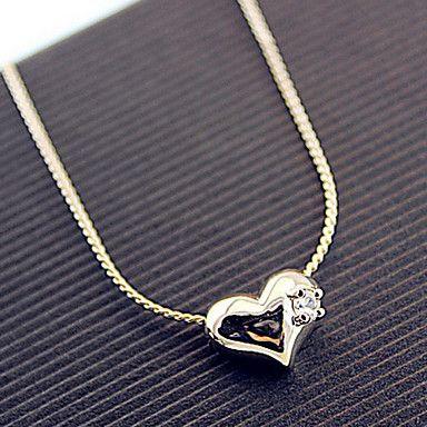 presente para namorada clássico (claro strass minúsculo coração) banhado a ouro colar de pingente (1 pc) – BRL R$ 25,83