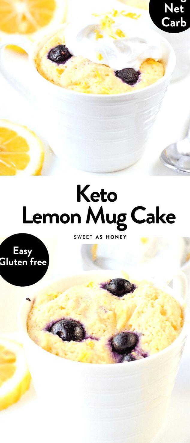 the BEST KETO LEMON MUG CAKE with blueberries An easy ...