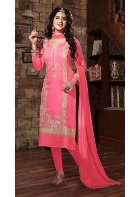 Office Wear Pink Bhagalpuri Silk Salwar Suit - 73686