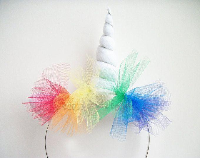 Diadema de unicornio arco iris - arco iris Unicorn Horn - disfraz de unicornio arco iris - Rainbow unicornio