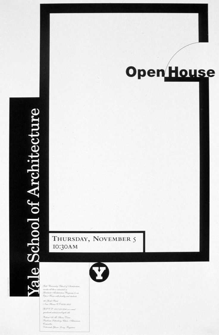 Poster design for architecture - Michael Bierut Yale School Of Architecture Open House 1990s Event Poster Designevent