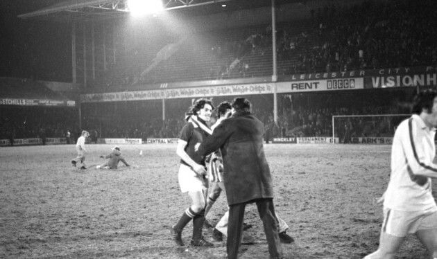 Ipswich Town 3 Leeds Utd 2 in March 1975 at Filbert Street. Ipswich manager Bobby Robson is delighted at the final whistle in this FA Cup 6th Round, 3rd Replay.