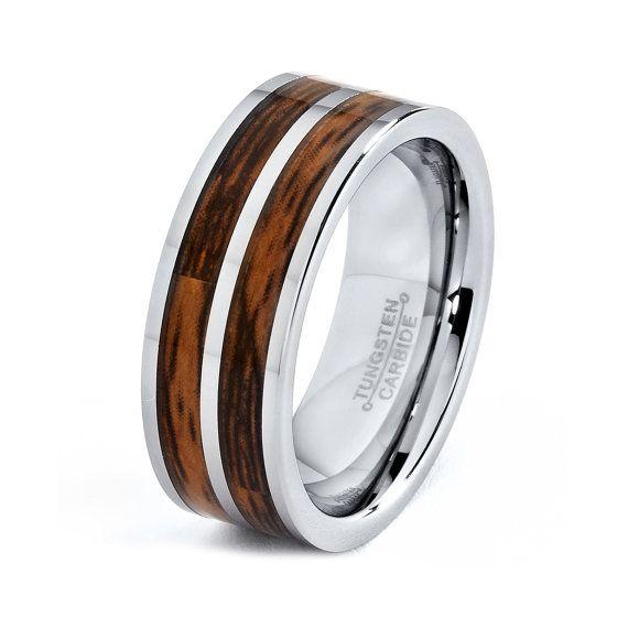 mens tungsten carbide wedding band ring 8mm wood inlay