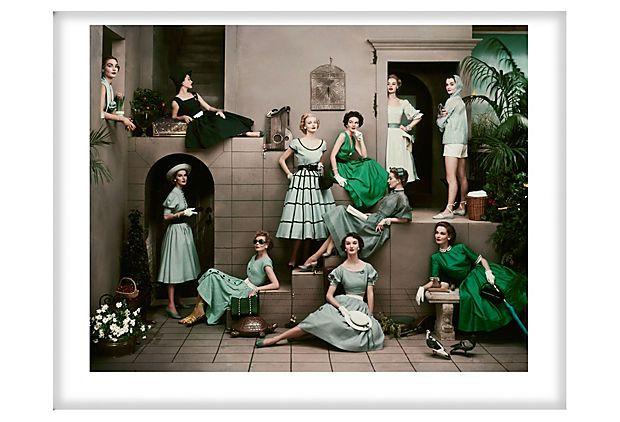 Conde nast archives, Glamour, 1952, Frances McLaughlin-Gill - via one kings lane: Woman Fashion, Christian Dior, 1950S Dresses, Vintage Fashion, Vintage Wardrobe, Shades Of Green, Blue Wedding, Wedding Colors Palettes, Green Dresses