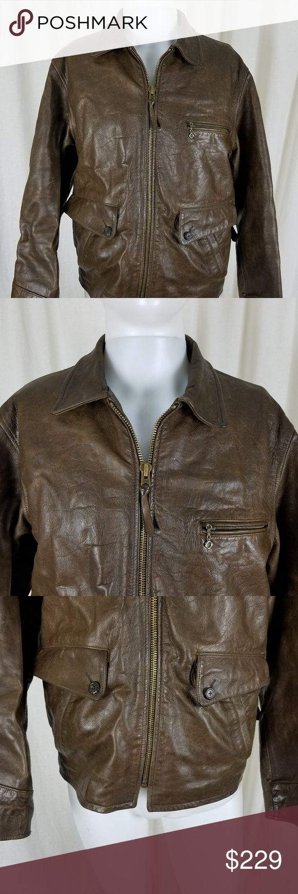 """Polo Sport RL Brown Leather Bomber Jacket Mens S Polo Sport by Ralph Lauren Brown Leather jacket  Men's size small but I believe it is the 90's oversized look.    Good to very good broken in / distressed vintage condition showing only appropriate signs of wear.  Actual measurements:  Armpit to armpit approx 22.5"""" Shoulder seam to shoulder seam approx 19"""" Across the waist area approx 21.5"""" Sleeve length from shoulder seam to cuff approx 24.5"""" Length down the back approx 25.5"""" Polo by Ralph…"""