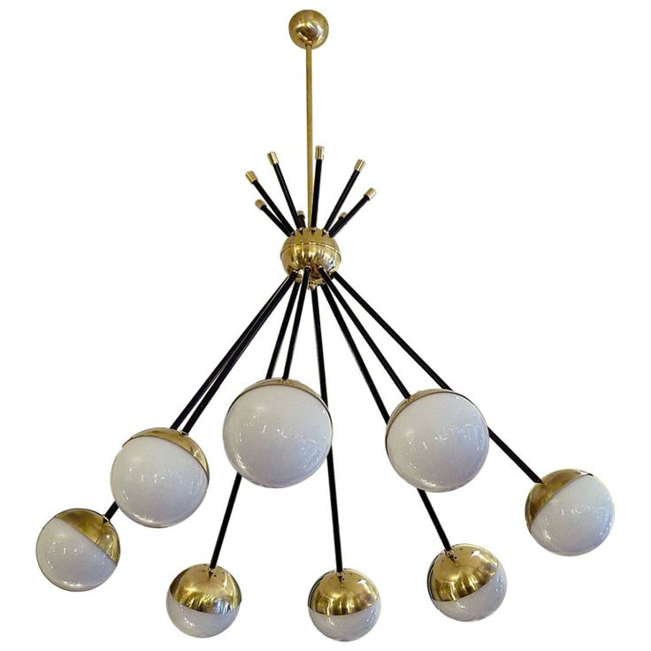 eight light ceiling fixture mid century chandelier by stilnovo from a unique collection of antique