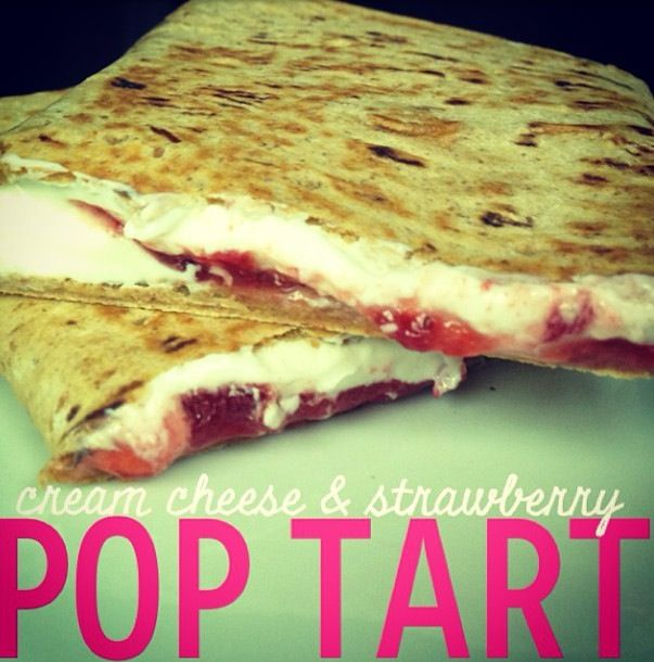 Healthy Poptart!! FF Cream Cheese, Strawberry Preserves on a Flat Out Wrap and grilled to perfection!! Yum!
