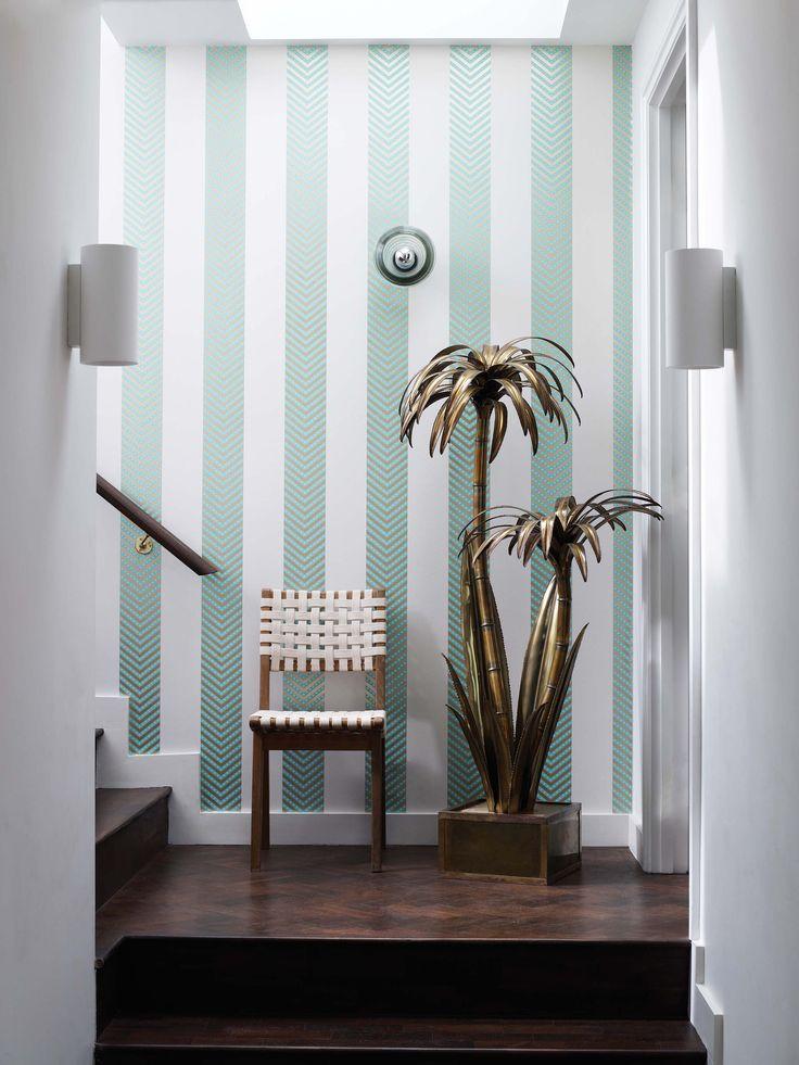 Samana chevlon wallpaper by @matthewwilliamson for @osbornelittle - available now from Rodgers of York #wallpaper #stairs