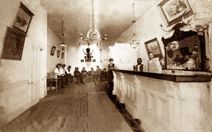 Photograph of the actual interior of the real-life Long Branch Saloon in Dodge City, Kansas, taken between 1870 and 1885