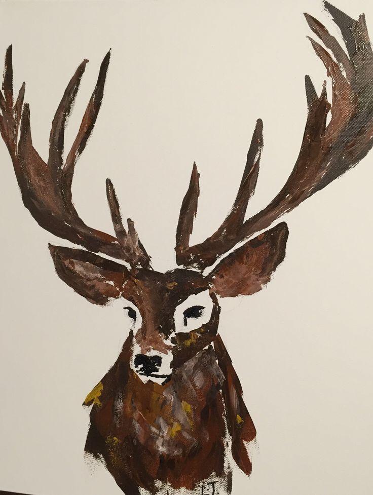 Knife painting deer