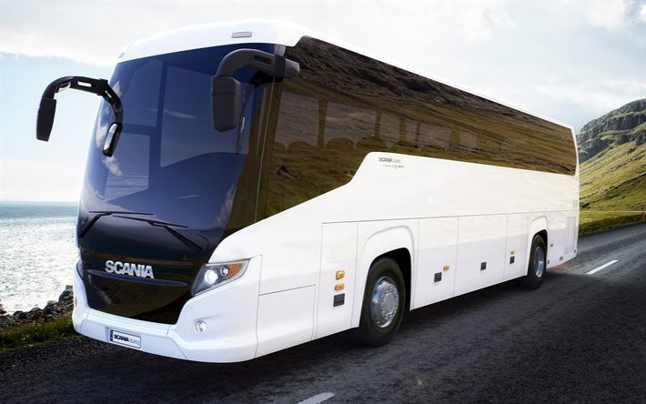 Download wallpapers Scania Touring, 2017, Tourist bus, new buses, passenger transportation