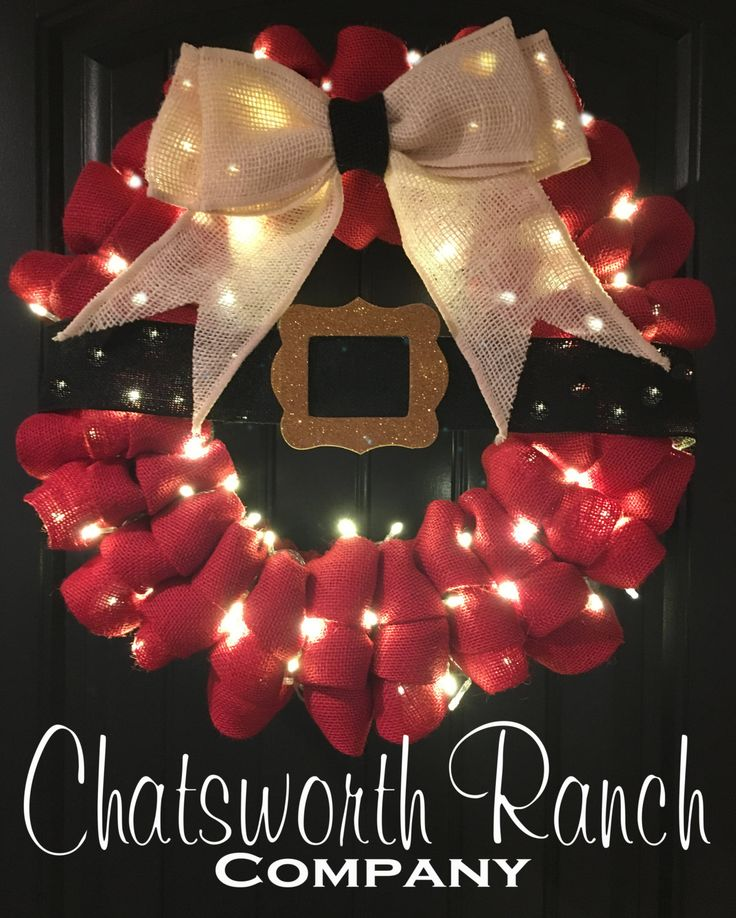 Santa Belt Buckle Burlap Wreath Christmas Holiday Welcome Door Wreath - Merry Christmas Wreath Natural Rustic Holiday Wreath Winter Wreath by ChatsworthRanchCo on Etsy https://www.etsy.com/listing/256082725/santa-belt-buckle-burlap-wreath