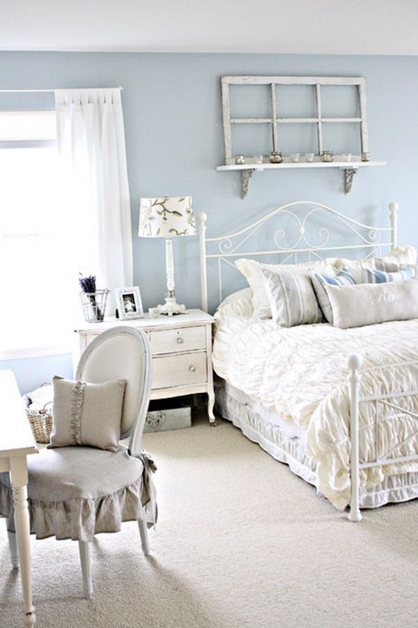blue and white shabby chic bedroom