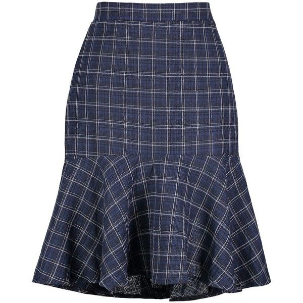 Plaid High Low Plus Size Mermaid Skirt ($20) ❤ liked on Polyvore featuring skirts, rosegal, high-low skirt, womens plus size skirts, short in front long in back skirt, mullet skirts and short front long back skirt